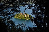 Slovenia, Bled, Lake Bled and Julian Alps, church of the Assumption.