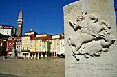 Slovenia, Primorska region, Adriatic Coast, Piran, Tartini Square and st. Georges church.