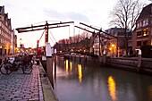 drawbridge in the old city of Dordrecht, netherlands.