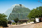 The huge glass Biosphere2 greenhouse near Oracle, Arizona USAis used to study the potential for space colonization.