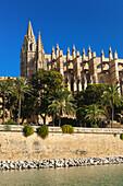 Cathedral of Santa Maria of Palma, more commonly referred to as La Seu, Palma de Mallorca, Majorca, Balearic Islands, Spain.