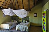 Bedroom, Palmwag Lodge, Damaraland, Kunene Region, Namibia, Africa.