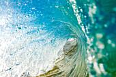 Hawaii, Maui, Makena, Barrel Of Beautiful Turquoise Wave.