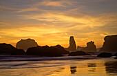 Oregon, Bandon Beach, Face Rock Seascape During Sunset.