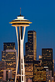 Washington, Seattle, Space Needle And Surrounding Skyscapers Lit At Dusk, View From Kerry Park On Queen Anne Hill.