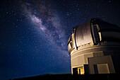 Hawaii, Big Island, Mauna Kea Summit, Gemini Observatory, Milky Way And Starry Sky Above, Low Light Exposure.