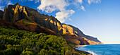 Hawaii, Kauai, Napali Coast, View Of Kalalau Beach And Dramatic Cliffs