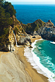 California, Big Sur, Julia Pfeiffer Burns State Park, Waterfall Onto Beach