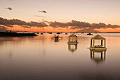 Indonesia, Bali, Sanur Beach, Sunrise, Floating Huts That Can Be Used For Romantic Dinner For Two, Relaxing, Or Special Requests.