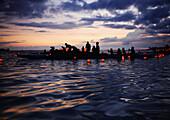 Hawaii, Oahu, Annual Lantern Floating Ceremony During Sunset At Ala Moana