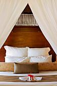 Fiji, Matangi Private Island Resort, Bedroom In Guest Bure.