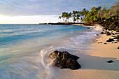 Hawaii, Big Island, Kona Coast, Mahai'ula Beach Park Shoreline Surf.