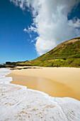 Hawaii, Oahu, Sandy Beach With Koko Head In Background.