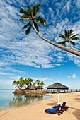Fiji, Viti Levu Island, Coral Coast, Beach And Wicked Walu Restaurant At Warwick Fiji Resort & Spa. For Editorial Use Only.