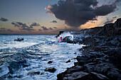 Hawaii, Big Island, Kalapana, Pahoehoe Lava Flowing From Kilauea Reaching The Pacific Ocean.