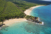 Hawaii, Maui, Makena, Aerial Of Little Beach And Big Beach.