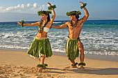 Male And Female Hula Dancers In Ti-Leaf, Haku, Lei, In A Dancing Pose On The Beach