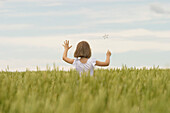 Girl Dressed As Fairy In Wheat Field