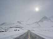 Icefields Parkway (Highway 93) At The Columbia Icefields During Winter, Jasper National Park, Alberta, Canada