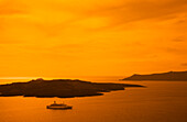 Nea Kameni Island Across From Santorini And Luxury Cruise Ship At Sunset, Aegean Sea, Greece