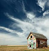 Graffiti Covered Abandoned Shed Near Linden, Alberta