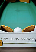 Old Table Tennis Set With Words Love And Game