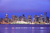 'City Skyline And Canada Place At Night; Vancouver British Columbia Canada'