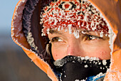 Close Up Portrait Of Adult Womans Face With Frost From 30 Below Zero Weather Within White Mountain National Recreation Area Winter Interior Alaska