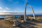 Bowhead Whale Jaw Bone Arch With Wooden Umiak Frames (Whale Hunting Boats) At Barrow, Alaska.