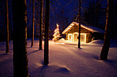 Historic Cabin @ Night In Wiseman Ak Ar Winter