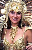 Smiling Woman, Lara Dutta, In Feathered Headdress Smiling At Carnival, Port O' Spain, Trinidad