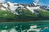 'Coral Princess Cruise ship in College Fjord, Chugach mountains, Prince William Sound; Alaska, United States of America'