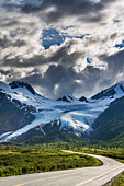 Scenic view of Richardson highway and the Worthington glacier, Southcentral Alaska.