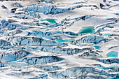 Aerial of crevasses in the Miles glacier, Chugach mountains, southcentral, Alaska.