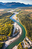 Aerial view of the Wild river in the Brooks range, Alaska.