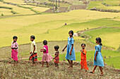 'A group of children play in the unnused paddy fields close to the village; Bangsa Ardual, Andrha Pradesh, India'