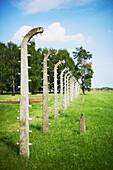 'Barbed wire in Birkenau death camp; Osweciem, Poland'