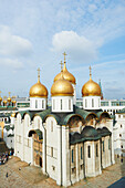 'View of Assumption Cathedral and Palace Square from Ivan the Great Bell Tower in Kremlin; Moscow, Russia'