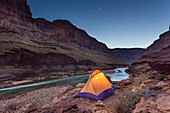 'Tent camped on a ledge above Blacktail camp along the Colorado River, Grand Canyon National Park; Arizona, United States of America'