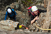 'Climbers ascending Am Basteir in the Black Cuillin; Isle of Skye, Scotland'