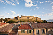 'Castle and ramparts viewed from the balcony of a bed and breakfast accommodation; Carcassonne, Languedoc-Rousillion, France'