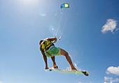 'Kitesurfing; Tarifa, Costa de la Luz, Cadiz, Andalusia, Spain'