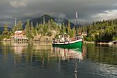 Kachemak Bay Ferry vessel, the Danny J transports visitors from Homer, Alaska to The Saltry Restaurant in Halibut Cove, Kachemak Bay, Southcentral Alaska