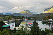 Scenic view overlooking Halibut Cove, Kachemak Bay, Southcentral Alaska.