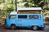'A vintage blue camper van with a sign saying just married on the window; California, United States of America'