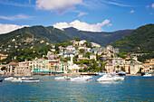 'Coastline and harbour of the Italian Riviera; Genoa, Liguria, Italy'