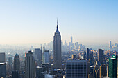 'View of Empire State Building and financial district from Top of the Rock at Rockefeller Centre; New York City, New York, United States of America'