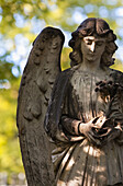 'Detail of an angel figurehead covered in moss, Highgate Cemetery; London, England'
