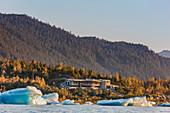 Icebergs from The retreating Mendenhall glacier in front of the Mendenhall Glacier Visitors center near Juneau, Southeast Alaska.
