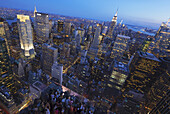 'View of Midtown Manhattan from the Top of the Rock Observation Tower at the Rockefeller Center at sunset; New York City, New York, United States of America'
